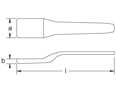 308A Non-Sparking, Non-Magnetic Caulking Tool Dimensional Drawing