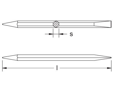 Ex308B Non-Sparking, Non-Magnetic Caulking Tool Dimensional Drawing