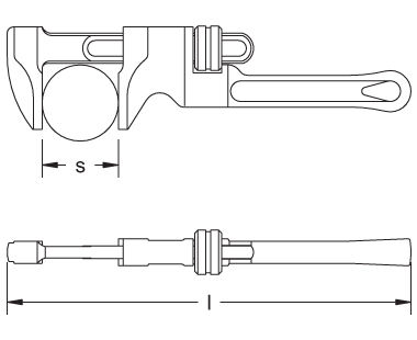Ex503 Pipe Wrench, Monkey Dimensional Drawing