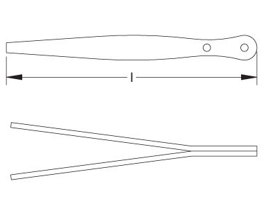 Ex610 Non-Sparking, Non-Magnetic Flat-Point Tweezer Dimensional Drawing