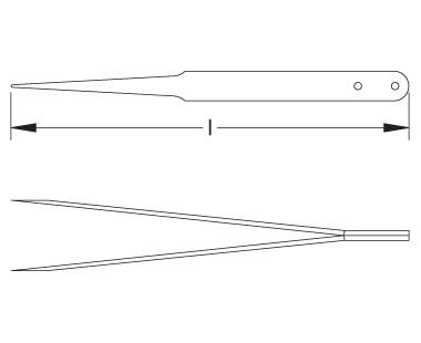 Ex610S Non-Sparking, Non-Magnetic Fine-Point Tweezer Dimensional Drawing