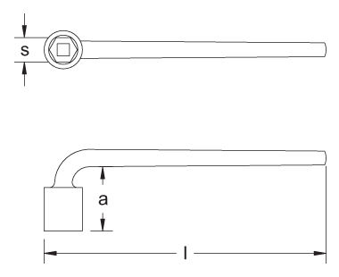 Ex701 Socket Wrench, L-Type, 6-point Dimensional Drawing