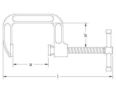 Ex901 Non-Sparking, Non-Magnetic C-Type Clamp Dimensional Drawing