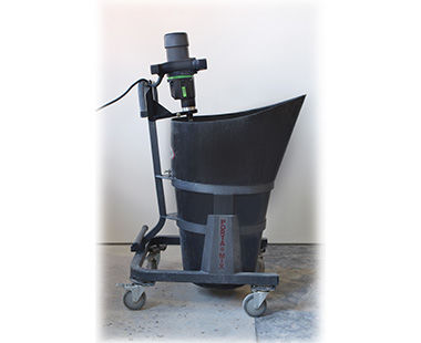 PP600 clamp holding mixer on Pelican Cart