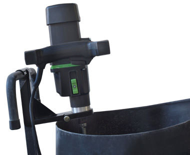 PP600 clamp holding mixer on Pelican Cart-close-up