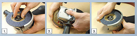 Simple clamping nut for no-tools changeover of abrasives