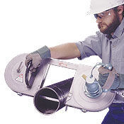 Portable pneumatic band saw