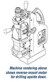 El dibujo de la máquina de arriba muestra el motor de montaje inverso para perforar boca abajo