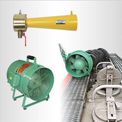 Air-powered axial ventilation fans