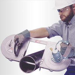 Portable Band Saw Cutting Pipe