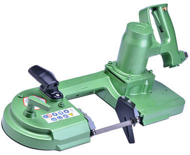 "Pneumatic air-powered band saw for cuts up to 4-1/2"" x 4-3/4"""