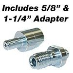 "5/8"" and 1-1/4"" Adapters Included"
