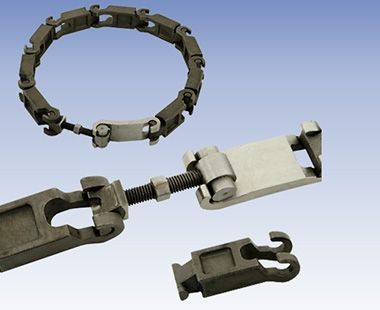 Guide chain, tightener and chain link