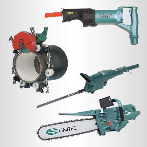 Specialty air-powered saws to cut concrete and metal