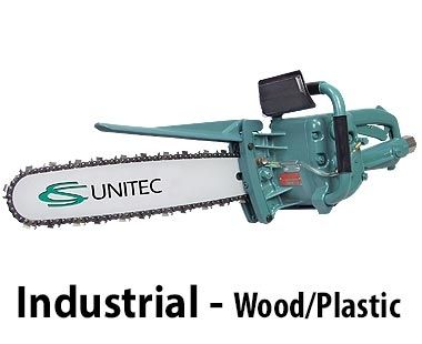 4 HP Pneumatic Chain Saw - industrial use, cuts wood and plastic